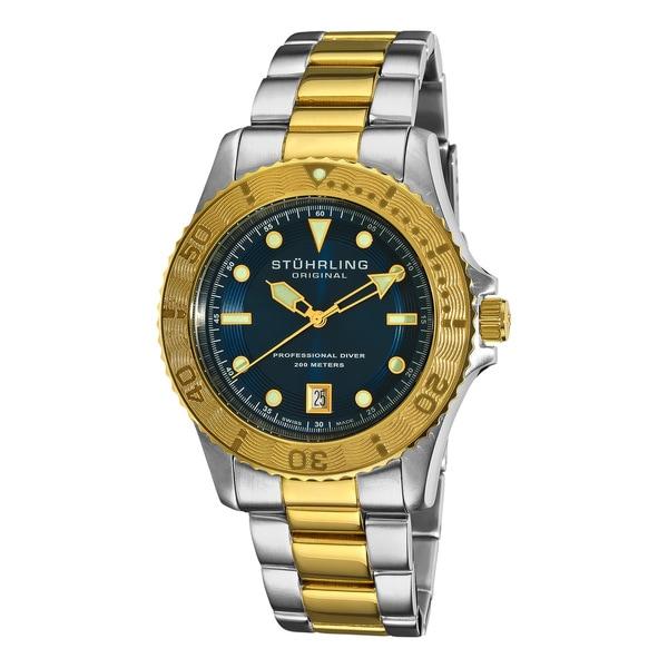 Stuhrling Original Men's Regatta Sailor Divers Stainless Steel Swiss Watch