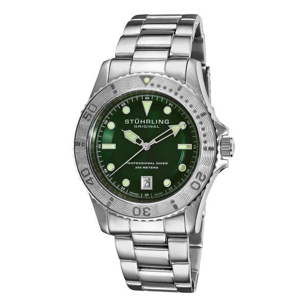Stuhrling Original Men's Regatta Sailor Divers Green-Dial Swiss Watch