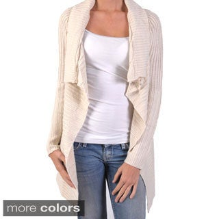 Ci Sono by Adi Juniors Cable Knit Ruffled Open-front Cardigan
