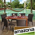 Sicily Rectangular 7-piece Eucalyptus and Wicker Dining Set