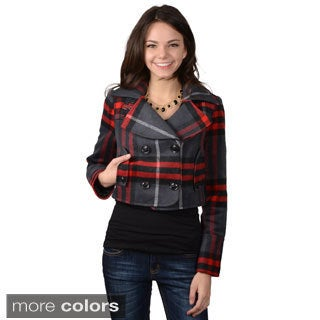 Ci Sono by Journee Juniors Checkered Double-breasted Coat