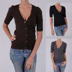 Ci Sono by Adi Junior's Ladies' Half-Sleeve Buttoned Cardigan