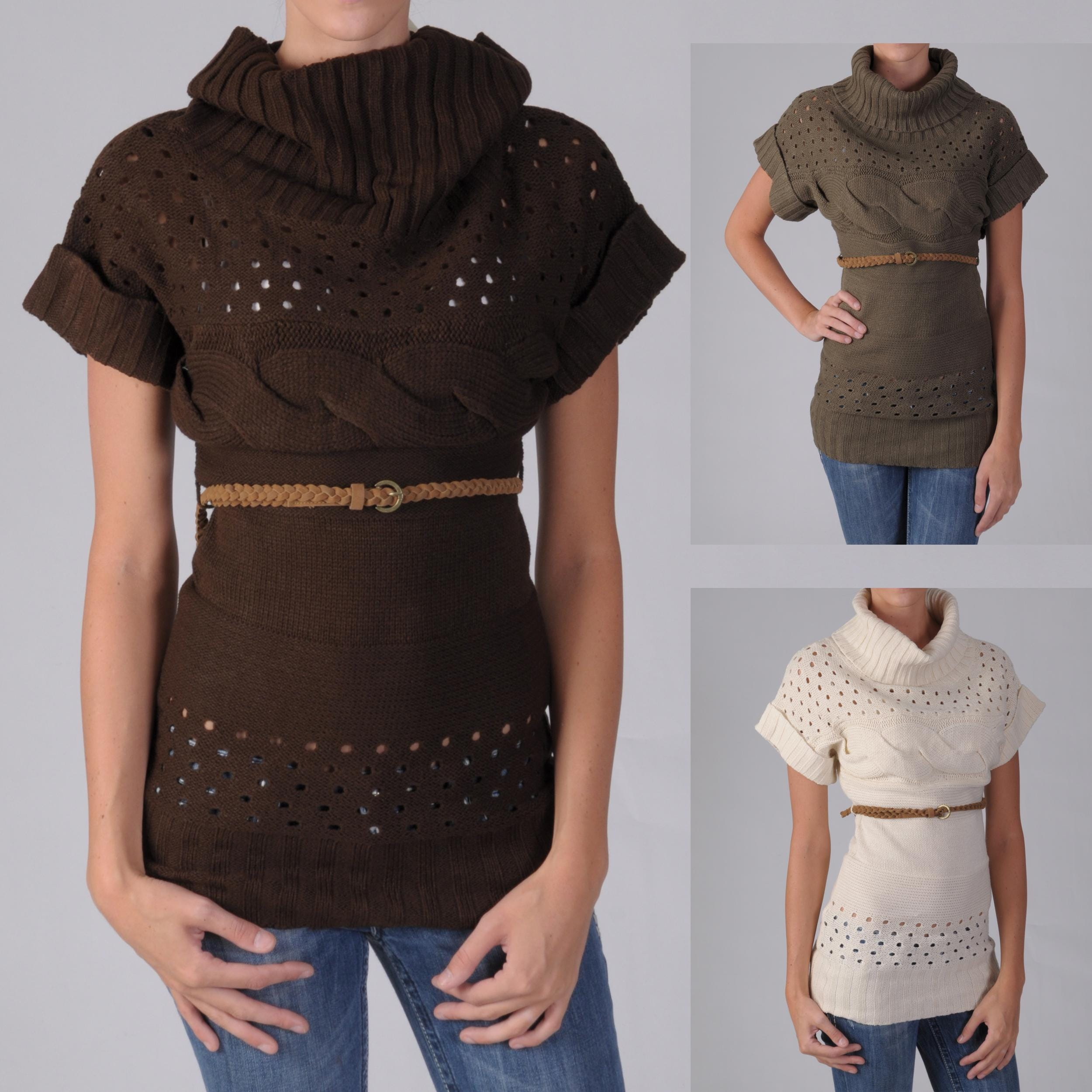 Ci Sono by Adi Juniors Belted Cable Knit Sweater Tunic