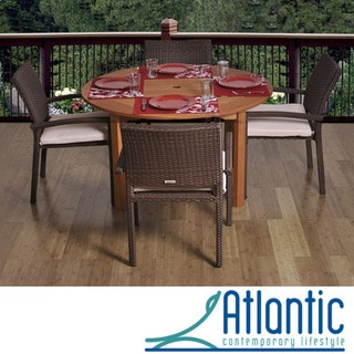 Calabria Round 5-piece Eucalyptus and Wicker Dining Set