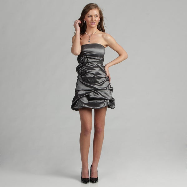 Wishes Juniors Silver Taffeta Dress