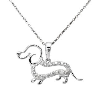 Rose or Silver 1/10ct TDW Diamond Dachshund Dog Necklace (J-K, I3)