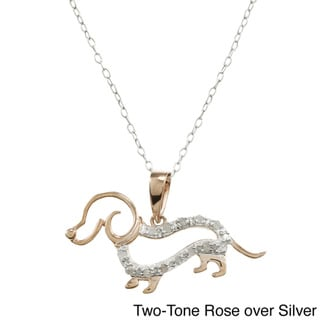 Rose or Silver 1/10ct TDW Diamond Dachshund Dog Necklace