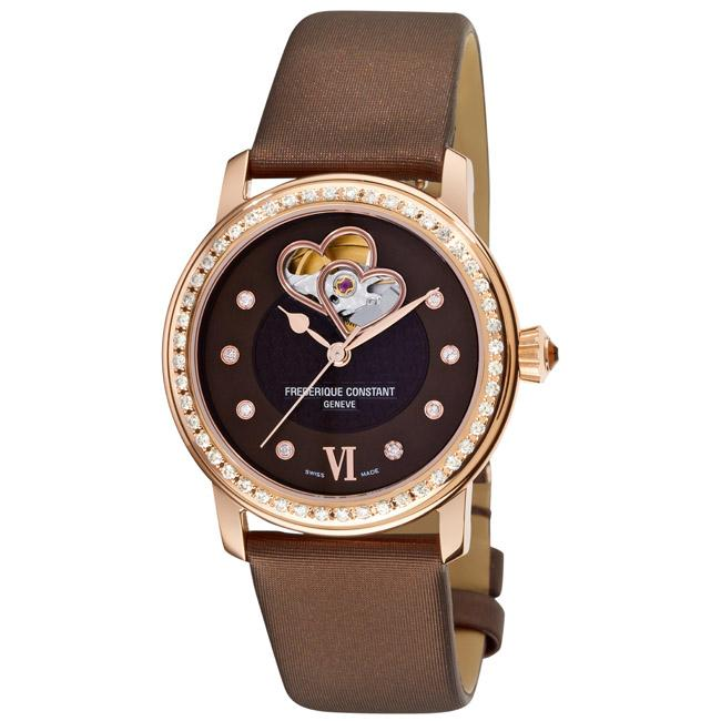 Frederique Constant Women's 'Automatic Double Heart Beat' Watch with Brown Satin-Leather Strap