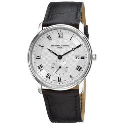 Frederique Constant Men's 'Slim Line Date' Black Leather Strap Watch