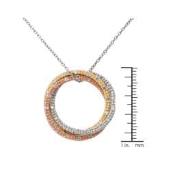 Tri-tone Silver 1/2ct TDW Diamond Triple Circle Necklace (J-K, I3)