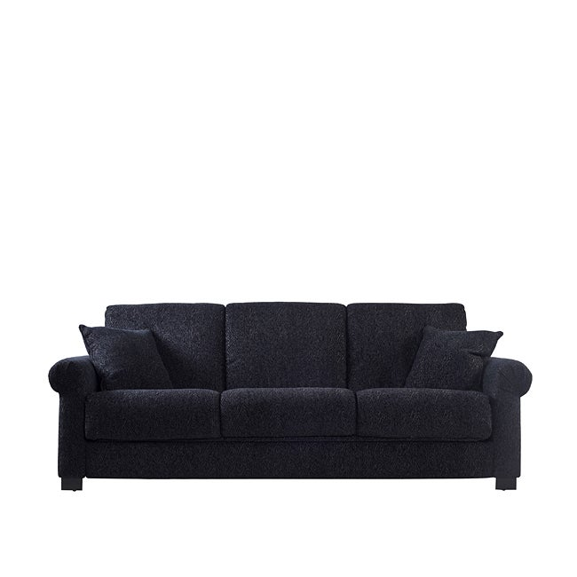 Portfolio Rio Convert-a-Couch Black Chenille Rolled Arm Futon Sofa Sleeper