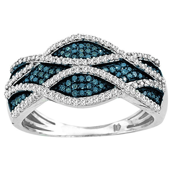 De Couer Sterling Silver 3/8 ct TDW Blue and white Criss-Cross Diamond Cocktail Ring (H-I, I2)