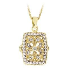 DB Designs 18k Gold Over Silver Diamond Accent Filigree Locket Necklace