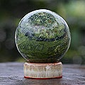 Handcrafted Serpentine 'Marine Depths' Sphere Sculpture (Peru)