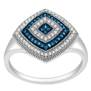 De Couer Silver 1/4ct TDW Blue and White Diamond Cocktail Ring (H-I, I2)