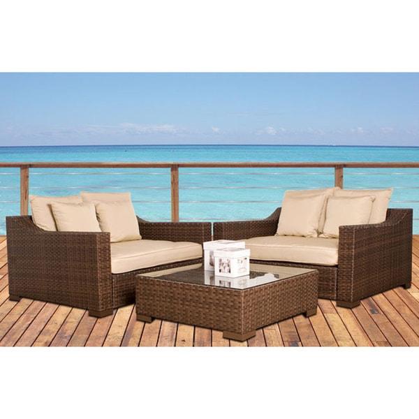Atlantic Lexington Deluxe 3-piece Deep Seating Set with Antique Beige Sunbrella Cushions