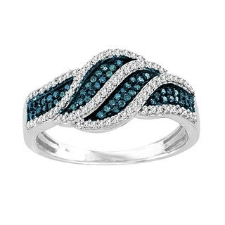 De Couer Sterling Silver 2/5ct TDW Blue and White Diamond Cocktail Ring (H-I, I2)