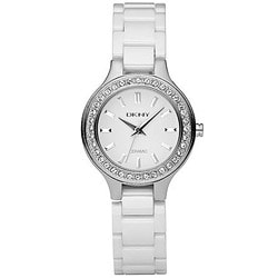 DKNY Women's White Ceramic Bracelet Glitz Watch
