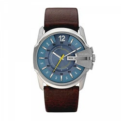 Diesel Men's Leather Strap Blue Dial Watch