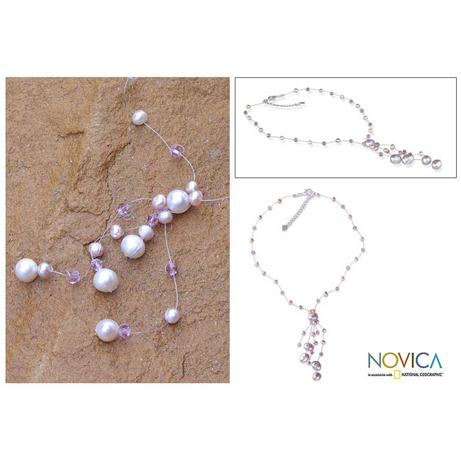 Stainless Steel 'Charming in Lilac' Pearl Choker Necklace (4-8.5 mm) (Thailand)