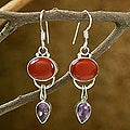 Sterling Silver 'Swings' Amethyst and Carnelian Earrings (India)