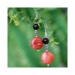 Sterling Silver 'Impassioned' Jasper and Onyx Earrings (India)