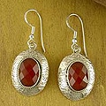Sterling Silver 'Inner Fire' Carnelian Earrings (India)