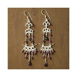 Sterling Silver 'Glorious' Garnet Chandelier Earrings (India)