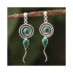 Sterling Silver 'Creation' Chrysocolla Earrings (Peru)