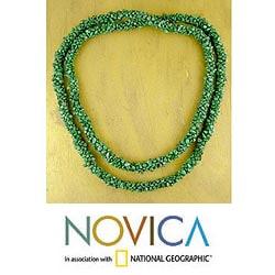 'Cool Moss' Malachite Bead Necklace (India)