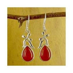 Sterling Silver 'Mughal Flirt' Carnelian Earrings (India)