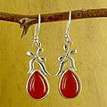 Sterling Silver 'Mughal Flirt' Carnelian Earrings (India)
