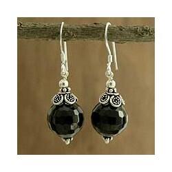 Sterling Silver 'Jaipur Sonnet' Onyx Dangle Earrings (India)