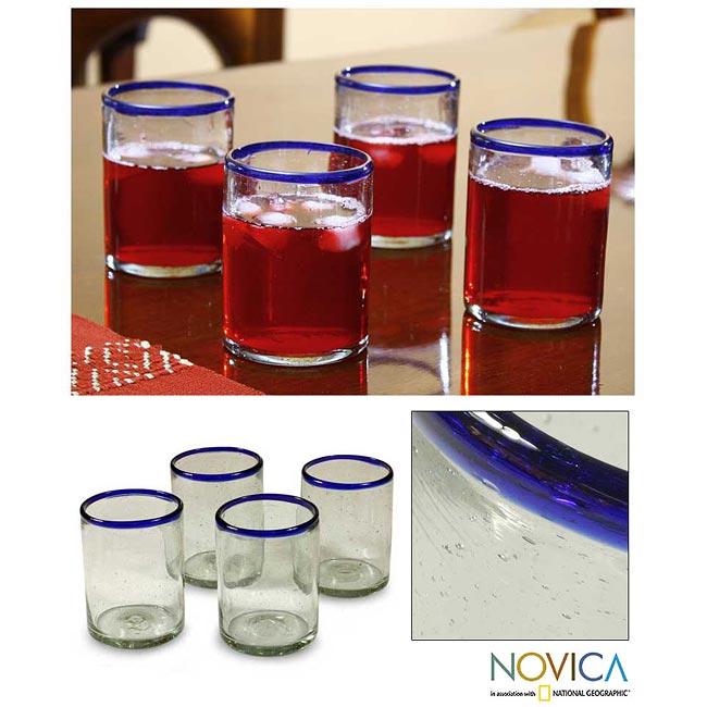 Set of 4 Blown Glass 'Blues' Juice Glasses (Guatemala)