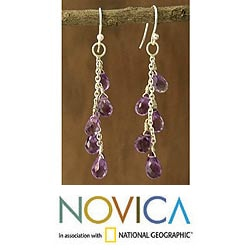 Sterling Silver 'Lilac Waterfall' Amethyst Dangle Earrings (India)