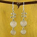 Sterling Silver 'Sweet Sugar Cakes' Moonstone Dangle Earrings (India)