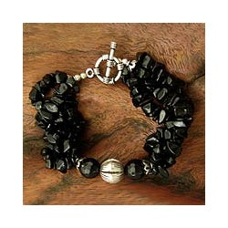 Sterling Silver 'Midnight Beauty' Onyx Torsade Bracelet (India)
