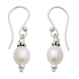 Destiny White Fresh Water Pearl with 925 Sterling Silver Perfect for Bridal Romantic Vintage Look Womens Dangle Earrings (India)