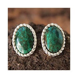 Sterling Silver 'Alluring' Chrysocolla Earrings (Peru)