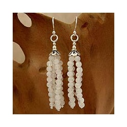 Sterling Silver 'Whisper' Moonstone Dangle Earrings (India)