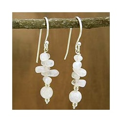 Sterling Silver 'Cloudfall' Moonstone Dangle Earrings (India)