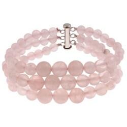 Pearlz Ocean Sterling Silver Rose Quartz Journey Bracelet