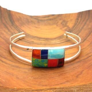 Alpaca Silver Gemstone Mossaic Bracelet (Mexico)