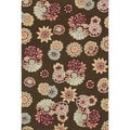 "Peony Transitional Brown Floral Rug (7'6"" x 9'6"")"