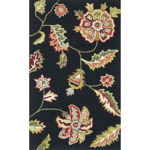 Hand-hooked Peony Black Floral Rug (2'3 x 3'9)