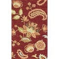 Hand-hooked Peony Red Rug (2'3 x 3'9)