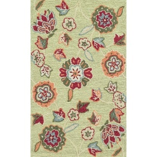Hand-hooked Peony Green Floral Rug (2'3 x 3'9)