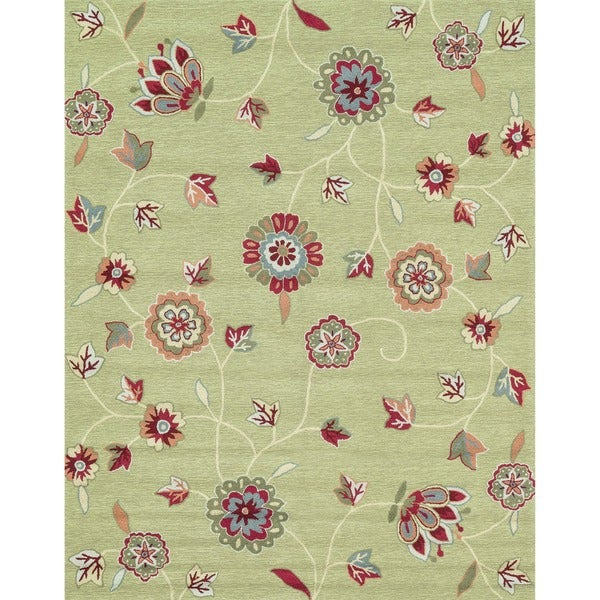 Hand-hooked Peony Green Floral Rug (7'6 x 9'6)