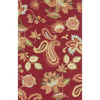 Hand-hooked Peony Red Rug (3'6 x 5'6)