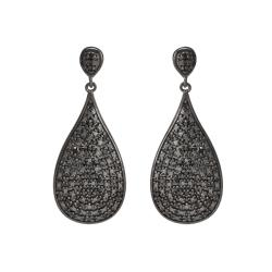 Sterling Silver 1/2ct TDW Black Diamond Teardrop Earrings